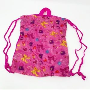 Girls Pink Jewelry Graphic Drawstring Backpack